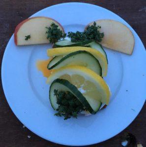 Smørrebrød med appelsin, agurk, æble og karse